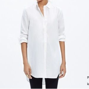 Madewell button down tunic blouse with pockets XXS
